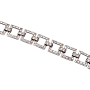 "Art Deco Pot Metal Rhinestone Bracelet 6-3/4"""