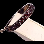 Victorian 3 Row Bohemian Garnet Hinged Bangle Bracelet