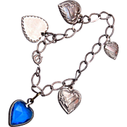 I Love U Puffy Heart Sterling Charm Bracelet