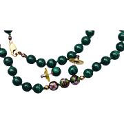Gold Filled Malachite and Cloisonné Necklace and Earring Set