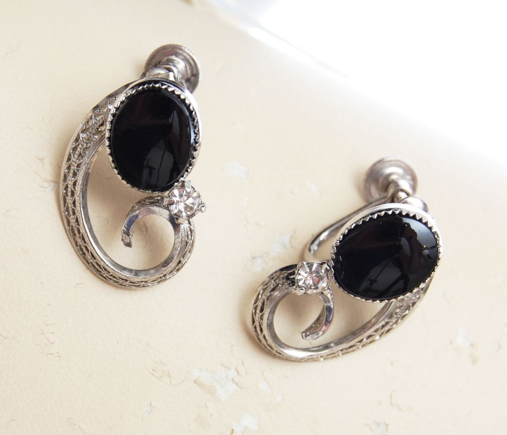 Sterling and Onyx Earrings