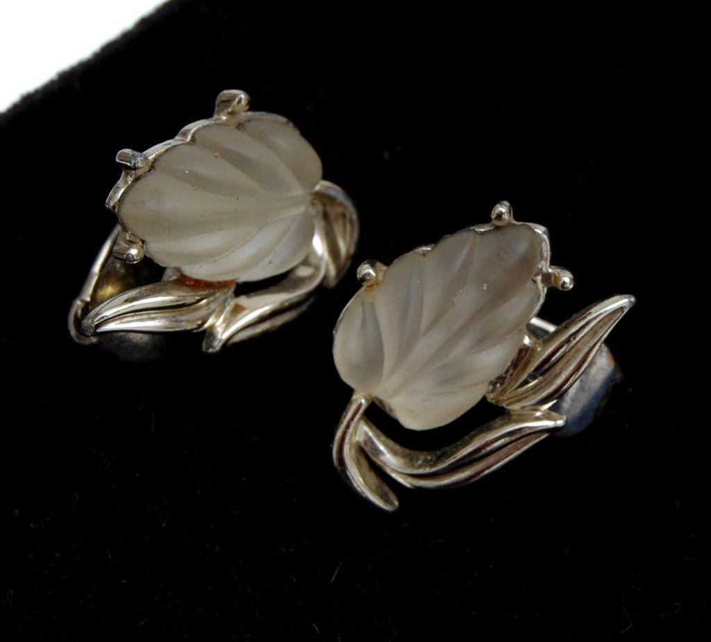 Coro Molded Glass Glowing Leaf Earrings