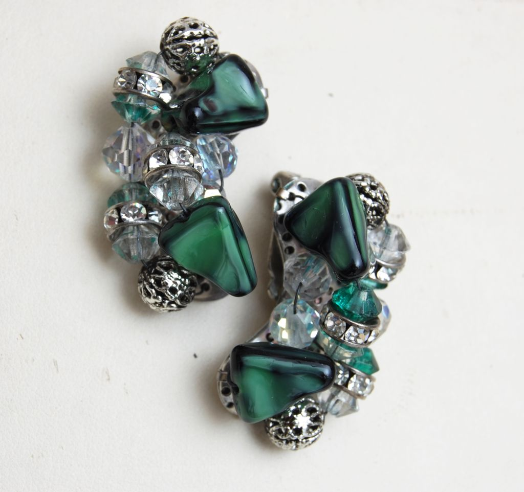 Green Art Glass, Crystal and Rhinestone Earrings