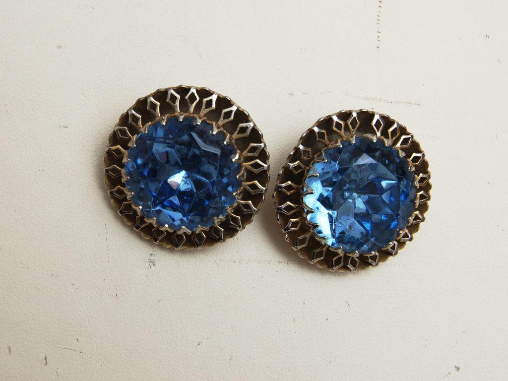 Large Light Blue Rhinestone Earrings