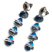 Gorgeous Blue Crystal Dangle Earrings