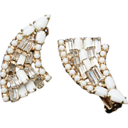White and Clear Prong Set Rhinestone Earrings