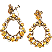 Topaz and Faux Pearl Drop Earrings