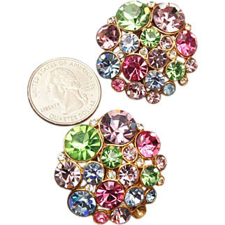 SALE Large Pastel Colored Rhinestone Earrings