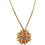 Florenza Orange Art Glass Necklace