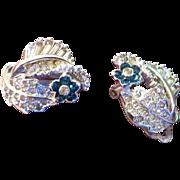 Pennino Crystal Earrings with Blue Flower