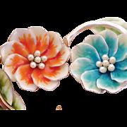 Vintage Pair of Enamel Floral Brooches - Liz Claiborne
