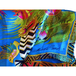 Laurel Burch Jungle Scene Silk Scarf