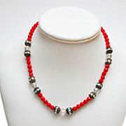 Red Glass and Filigree and Rhinestone Beaded Necklace