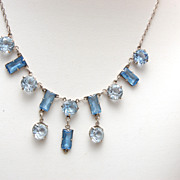 Sterling and Bezel Set Blue Unfoiled Crystal Necklace