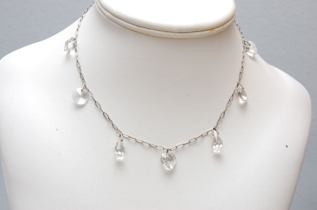 Briolette Crystal, Hearts and Circle Crystal Necklace
