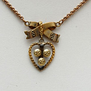 Beautiful Gold Filled Necklace - Heart and Bow Design