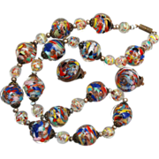 Gorgeous Multi Colored Venetian Beaded Necklace and Earring Set