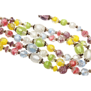 Three Strand Pastel Givre' Glass Beaded Necklace