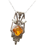 Topaz Crystal and Real Mabe' Pearl Necklace Paper Clip Chain
