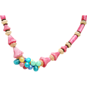 Molded Glass Flower and Berry Necklace Hung on Chain