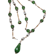 """Green Glass """"Y"""" Chain Necklace"""