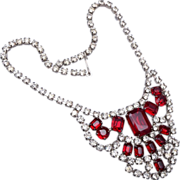 Red and Clear Prong Set Rhinestone Necklace