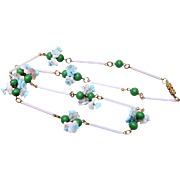 Beautiful Green and Blue Glass Flower Necklace