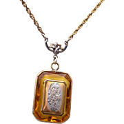 Gold Filled Locket in Topaz Faceted Crystal