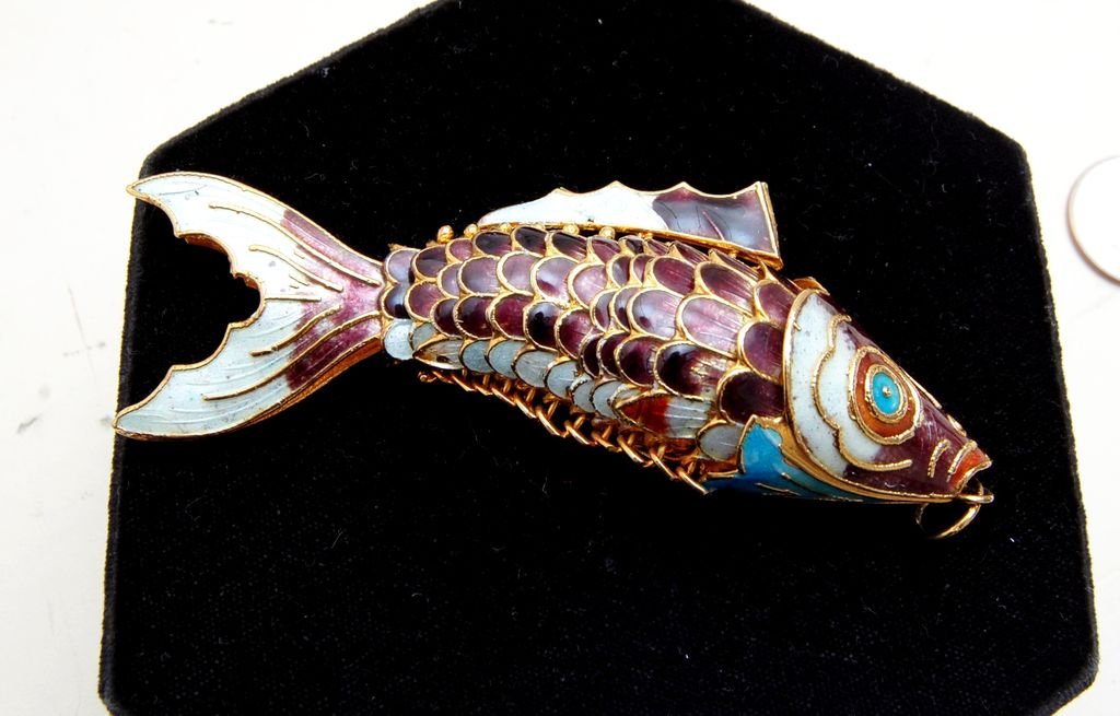 Very Large Articulated and Enameled Fish Pendant