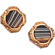 Beautiful Banded Agate Gold Filled Cuff Links 1883