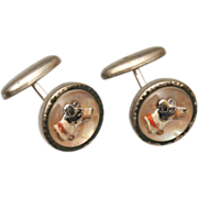 Reverse Carved and Painted Dog Cuff Links