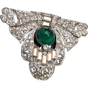 Art Deco Dress Clip - Green Stone
