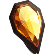 Czechoslovakia Faceted Topaz Crystal Dress Clip