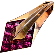 1951 Trifari Fur Clip - Purple Stones - Book Piece
