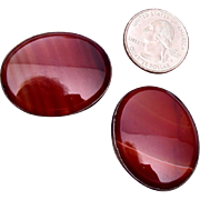 Beautiful Large Agate and Silver Cufflinks