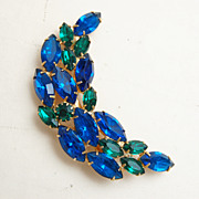 Blue and Green faceted Half Moon Brooch