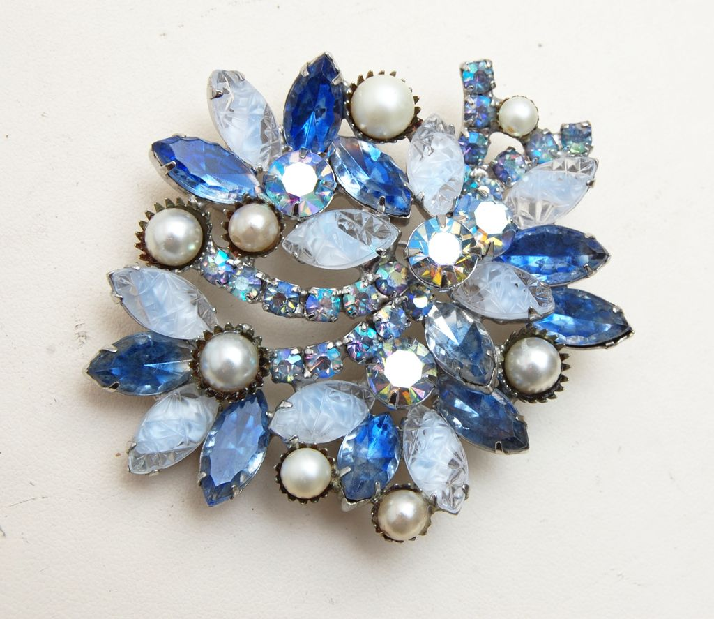 Givre' and Lava Stone Blue Rhinestone Brooch