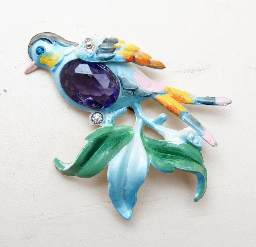 Plastic Bird With Rhinestone Belly Figural Brooch