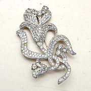 Pave' Set Pot Metal Flower Brooch