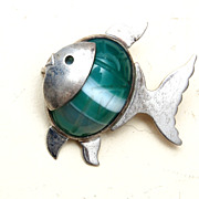 WRE Sterling and Carved Green Stone Fish Brooch