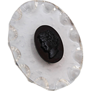 Lucite and Black Bakelite Cameo Brooch