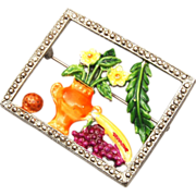 Enameled Still Life Picture Brooch