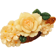Celluloid Basket of Flowers Brooch Signed Japan