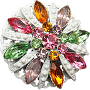Japanned White and Pastel Rhinestone Brooch