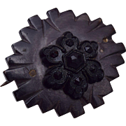 Victorian Bog Oak and Black Glass Brooch
