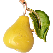 Enameled Pear Brooch