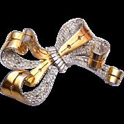 Beautiful Pierced Metal and Rhinestone Brooch