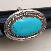 Sterling and Large Turquoise Stone Signed JM Ring 9-1/4