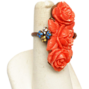 Fabulous Molded Coral and Enamel Ring - 7-1/2