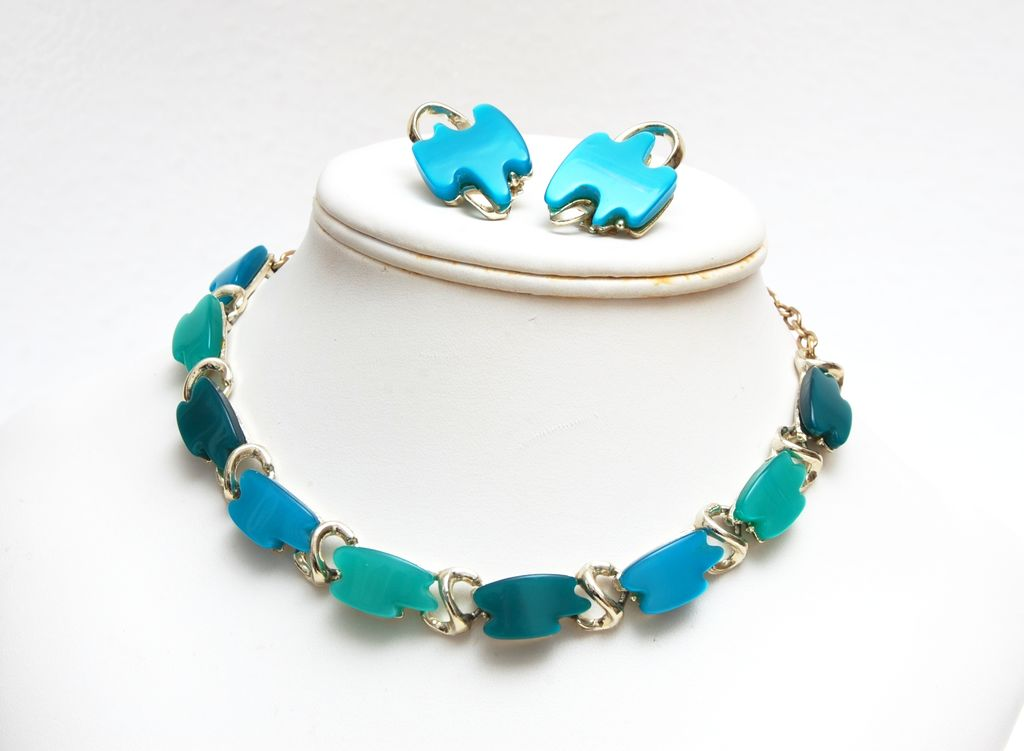 3 Shades of Blue Lucite Thermoset Necklace and Earrings Set